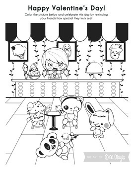 Bilingual Valentine S Day Coloring Page Ice Cream Shop By Mayes