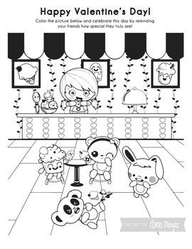 Bilingual Valentine's Day Coloring Page - Ice Cream Shop