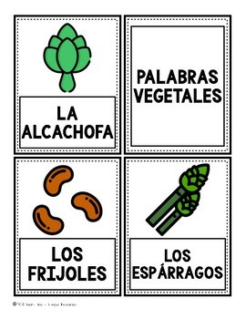 Bilingual Vegetable Word Cards