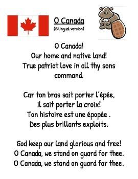 Bilingual Version of O CANADA-National Anthem