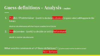Bilingual Vocabulary Scaffolding Slideshow: roots, affixes (over 200 exercises)