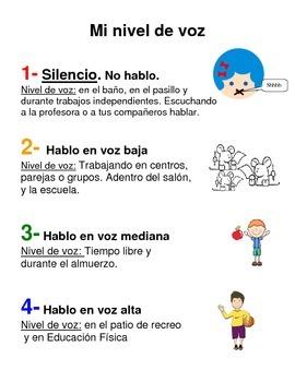 Bilingual Voice Level Poster (Nivel de voz letrero / cartel)