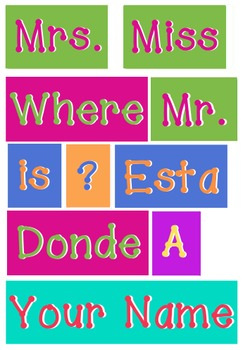 Bilingual - WORDS for your Where is the counselor sign