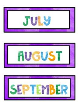 Bilingual Water Color Calendar Headings