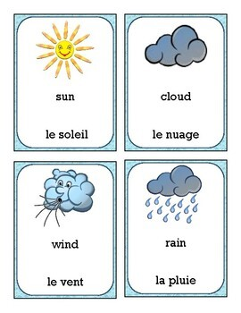Weather - Le Temps CARDS (Bilingual English & French)