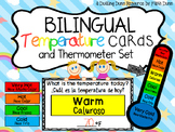 Bilingual Weather Temperature Cards and Thermometer Set