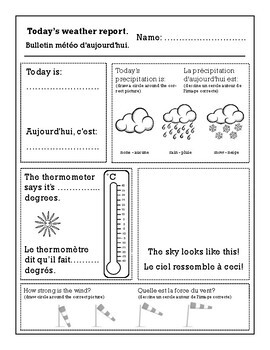 Weather - Le Temps WORKSHEETS (Bilingual English & French)