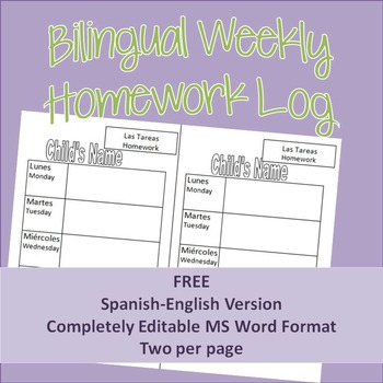 Bilingual Weekly Homework Assignment Log FREEBIE [Spanish-
