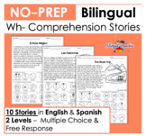 Bilingual Wh- Comprehension Stories | No Prep | English & Spanish