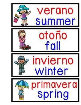 Bilingual Word Wall Seasons and Weather