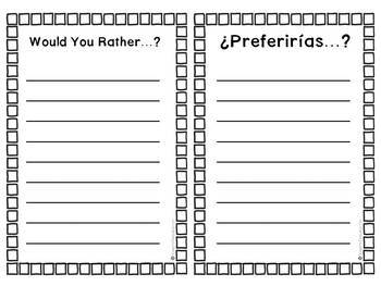 "Bilingual ""Would you rather? / ¿Preferirías?"" Questions - Halloween Edition"