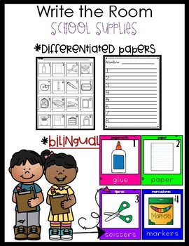 Bilingual Write The Room School Supplies