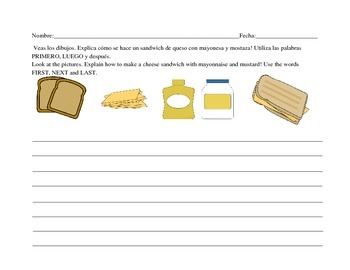 Bilingual Writing Organizers, Spanish Sequence Writing