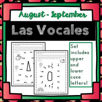Bilingual and Dual Language  Print and Go Dot-to-Dot Las Vocales K-1