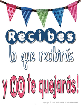 Bilingual classroom management posters: You get what you get