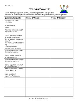 Bilingual conversation starters/sentence stems/activities - Spanish/English
