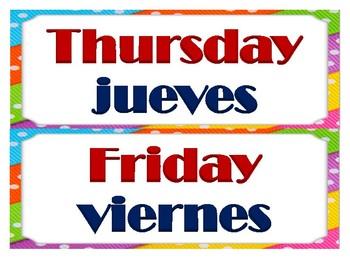 Bilingual days of the week / Días de la semana bilingüe