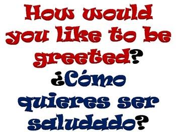 Bilingual greeting chart / Cuadro de saludo bilingüe