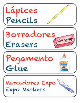 Bilingual labels for school supplies.