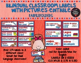 BILINGUAL/DUAL LANGUAGE CLASSROOM LABELS with pictures-EDITABLE