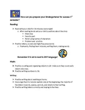 Bilingual letter for parent nights for Kindergarten
