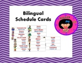 Bilingual schedule cards