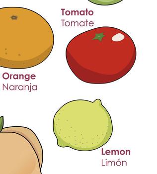 Bilingual theme poster - Fruits