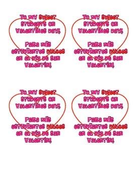 Bilingual valentines to students | Cartas bilingües para estudiantes