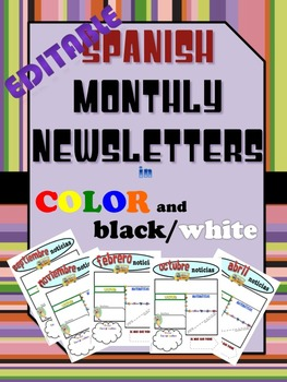 Bilingual/Dual Language Editable Newsletter Templates in Spanish