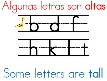 Bilingual/Dual Language Letter Formation Sign