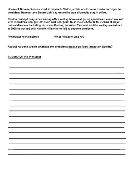 Bill Clinton Article and Summary  Assignment