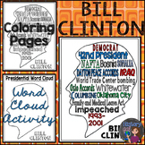 Bill Clinton Coloring Page and Word Cloud Activity