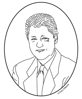 Bill Clinton (42nd President) Clip Art, Coloring Page or Mini Poster