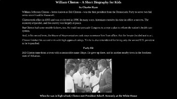 Bill Clinton PowerPoint Biography with Review Quiz