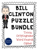 Bill Clinton President Puzzle Pack- cipher, cryptogram, trivia, word search