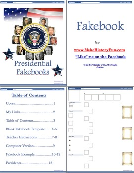 Bill Clinton Presidential Fakebook Template