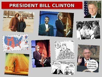 Bill Clinton: overview w quotes, cartoons, foreign/domestic legacy PPT & handout