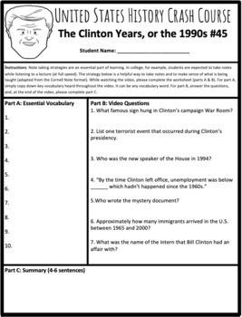 Bill Clinton's Presidency: Graphic Organizer and Crash Course #45