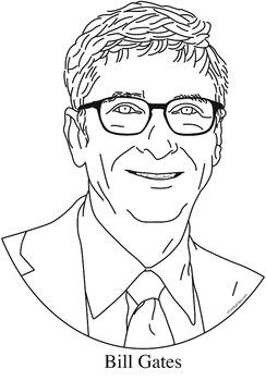 Bill Gates Clip Art, Coloring Page, or Mini-Poster