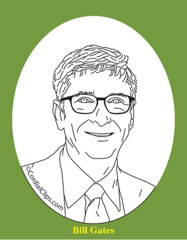 Bill Gates Clip Art, Coloring Page, or Mini-Poster by Cordial Clips