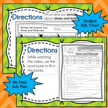 Bill Nye ATOMS AND MOLECULES Video Guide, Quiz, Sub Plan, Worksheets, Lesson