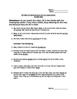 Bill Nye Animal Locomotion Note Taking Sheet