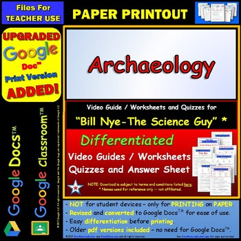Differentiated Video Worksheet, Quiz & Ans. for Bill Nye - Archaeology *