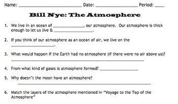Bill Nye Atmosphere Video Worksheet