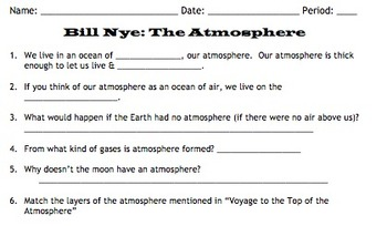 bill nye atmosphere video worksheet by mayberry in montana tpt. Black Bedroom Furniture Sets. Home Design Ideas
