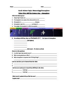 Bill Nye Science Guy Movie - Atmosphere. Video Worksheet & Key: Fun & Knowledge!