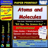 Differentiated Video Worksheet, Quiz & Ans. for Bill Nye - Atoms and Molecules *