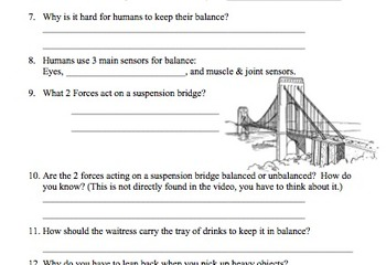 Bill Nye Balance Video Worksheet (Balanced and Unbalanced Forces)