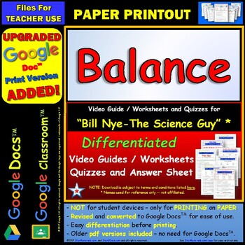 Differentiated Video Worksheet, Quiz & Ans. for Bill Nye - Balance *