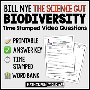 {FREEBIE} Bill Nye Biodiversity Video Questions with Time Stamp